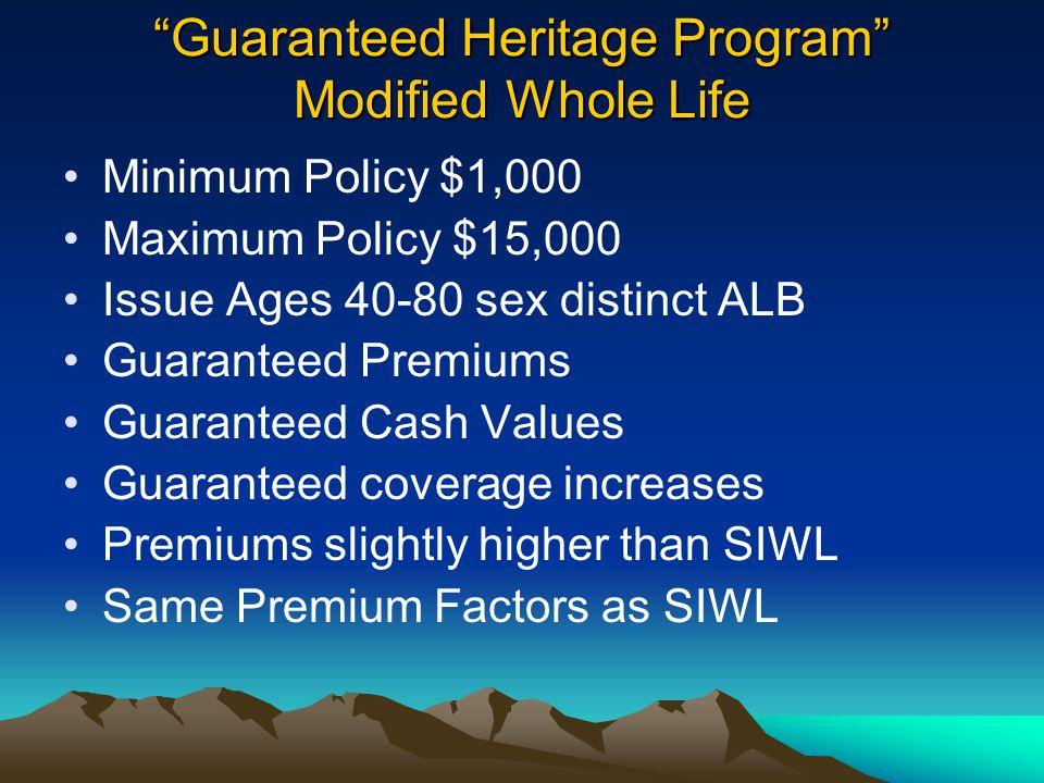 Minimum Policy $1,000 Maximum Policy $15,000 Issue Ages 40-80 sex distinct ALB Guaranteed Premiums Guaranteed Cash Values Guaranteed coverage increase