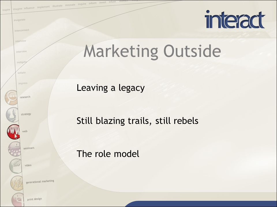 Marketing Outside Leaving a legacy Still blazing trails, still rebels The role model