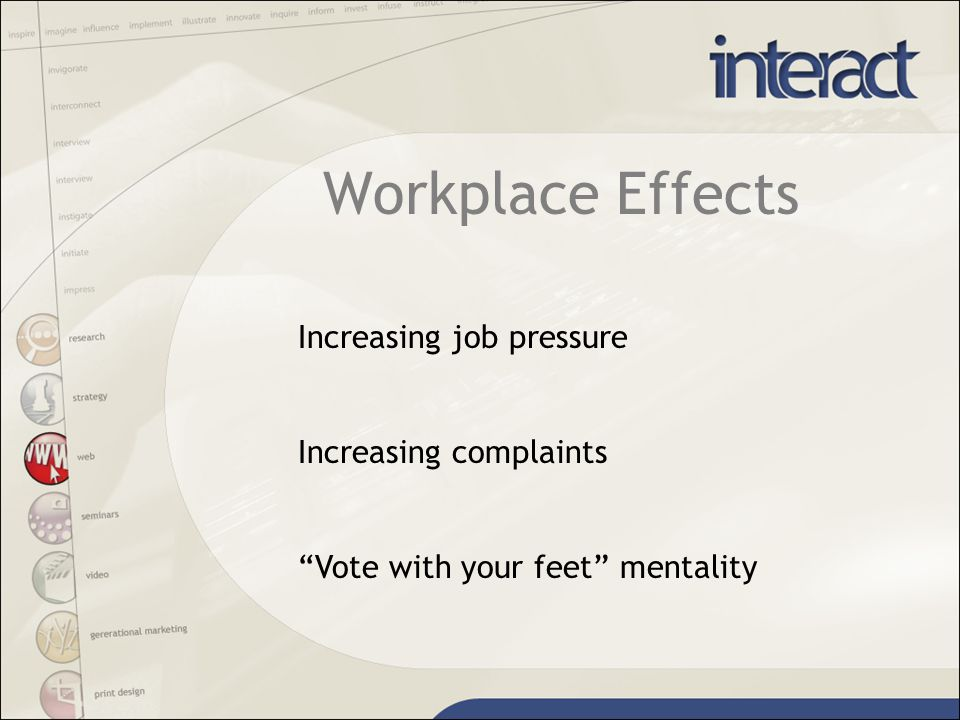 Workplace Effects Increasing job pressure Increasing complaints Vote with your feet mentality