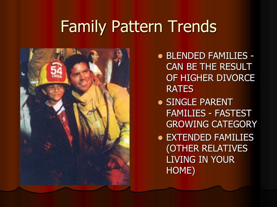 Family Pattern Trends BLENDED FAMILIES - CAN BE THE RESULT OF HIGHER DIVORCE RATES SINGLE PARENT FAMILIES - FASTEST GROWING CATEGORY EXTENDED FAMILIES (OTHER RELATIVES LIVING IN YOUR HOME)