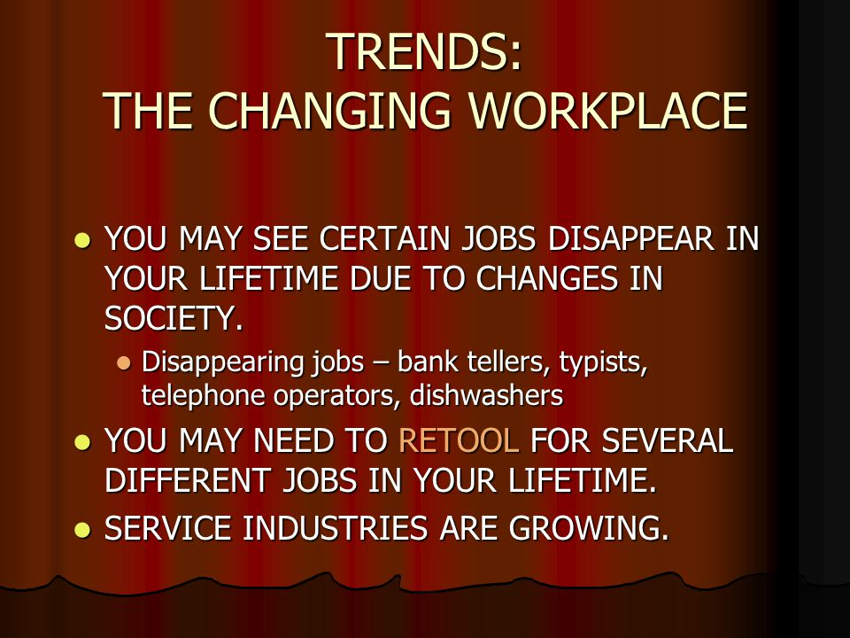 TRENDS: THE CHANGING WORKPLACE YOU MAY SEE CERTAIN JOBS DISAPPEAR IN YOUR LIFETIME DUE TO CHANGES IN SOCIETY.