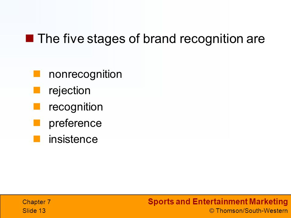 Sports and Entertainment Marketing © Thomson/South-Western Chapter 7 Slide 13 nonrecognition rejection recognition preference insistence The five stages of brand recognition are