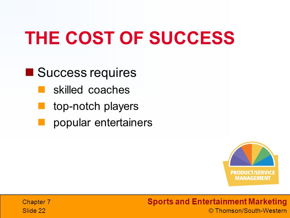 Sports and Entertainment Marketing © Thomson/South-Western Chapter 7 Slide 22 THE COST OF SUCCESS Success requires skilled coaches top-notch players popular entertainers