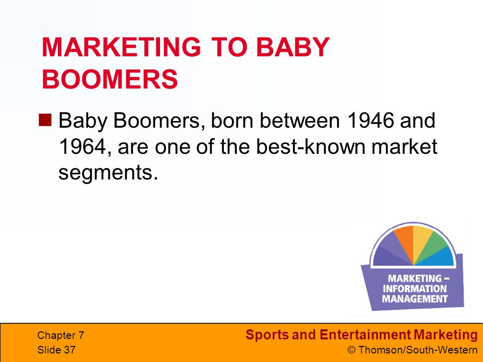 Sports and Entertainment Marketing © Thomson/South-Western Chapter 7 Slide 37 MARKETING TO BABY BOOMERS Baby Boomers, born between 1946 and 1964, are one of the best-known market segments.
