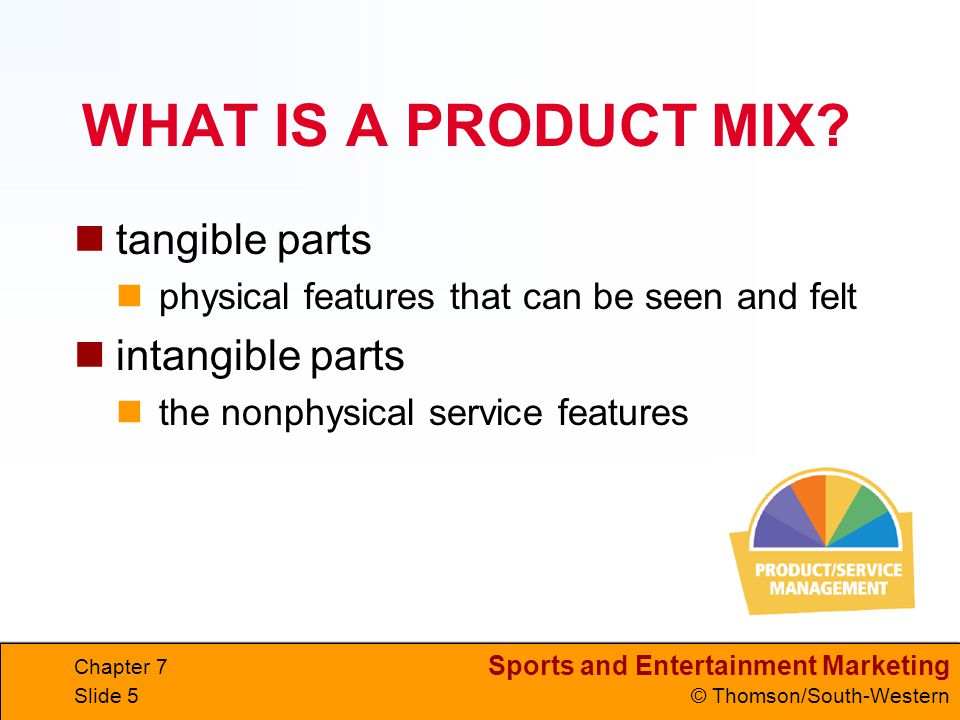 Sports and Entertainment Marketing © Thomson/South-Western Chapter 7 Slide 5 WHAT IS A PRODUCT MIX.