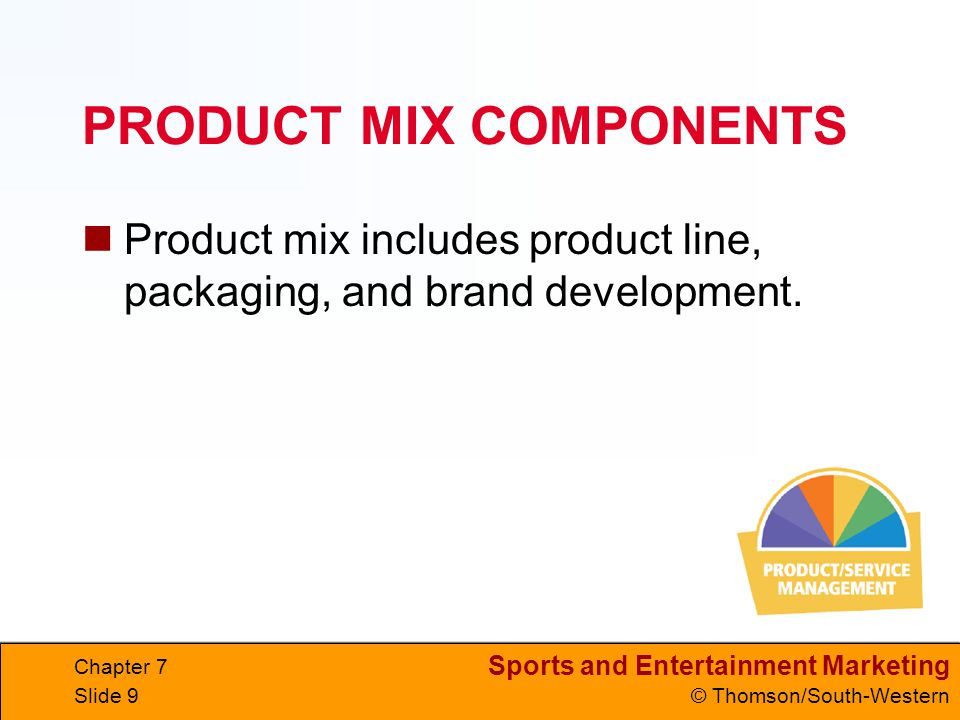 Sports and Entertainment Marketing © Thomson/South-Western Chapter 7 Slide 9 PRODUCT MIX COMPONENTS Product mix includes product line, packaging, and brand development.