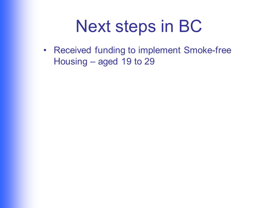 Next steps in BC Received funding to implement Smoke-free Housing – aged 19 to 29