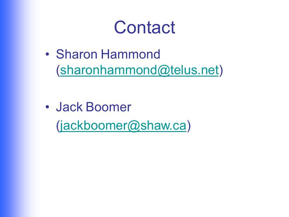 Contact Sharon Hammond (sharonhammond@telus.net)sharonhammond@telus.net Jack Boomer (jackboomer@shaw.ca)jackboomer@shaw.ca