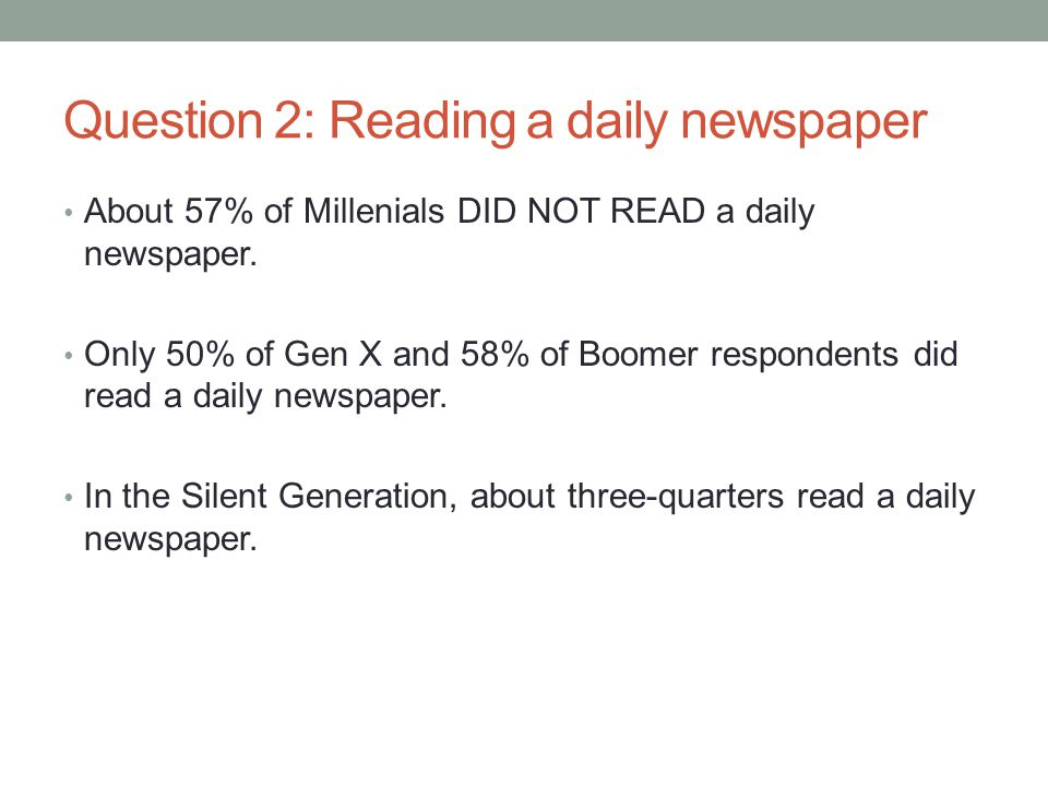 Question 2: Reading a daily newspaper About 57% of Millenials DID NOT READ a daily newspaper.