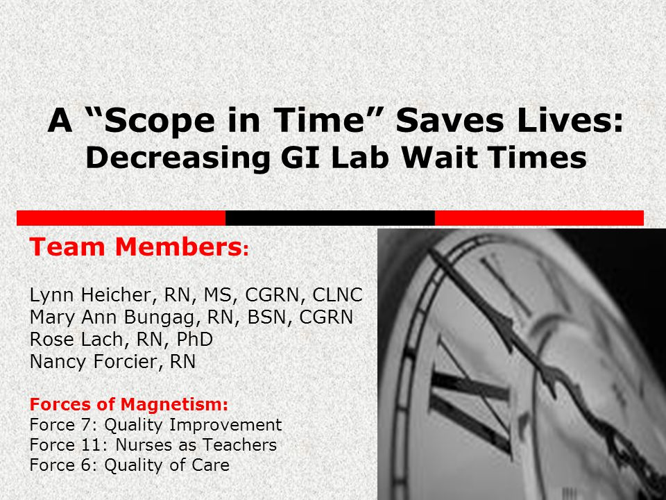 A Scope in Time Saves Lives: Decreasing GI Lab Wait Times Team Members : Lynn Heicher, RN, MS, CGRN, CLNC Mary Ann Bungag, RN, BSN, CGRN Rose Lach, RN, PhD Nancy Forcier, RN Forces of Magnetism: Force 7: Quality Improvement Force 11: Nurses as Teachers Force 6: Quality of Care