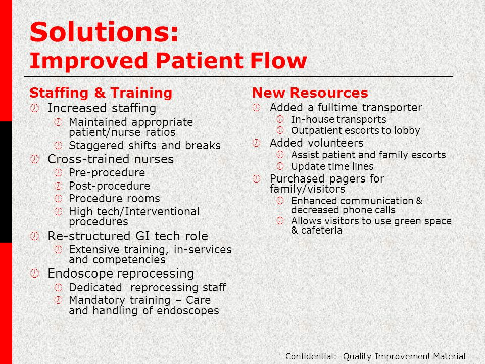 Solutions: Improved Patient Flow Staffing & Training  Increased staffing  Maintained appropriate patient/nurse ratios  Staggered shifts and breaks  Cross-trained nurses  Pre-procedure  Post-procedure  Procedure rooms  High tech/Interventional procedures  Re-structured GI tech role  Extensive training, in-services and competencies  Endoscope reprocessing  Dedicated reprocessing staff  Mandatory training – Care and handling of endoscopes New Resources  Added a fulltime transporter  In-house transports  Outpatient escorts to lobby  Added volunteers  Assist patient and family escorts  Update time lines  Purchased pagers for family/visitors  Enhanced communication & decreased phone calls  Allows visitors to use green space & cafeteria Confidential: Quality Improvement Material