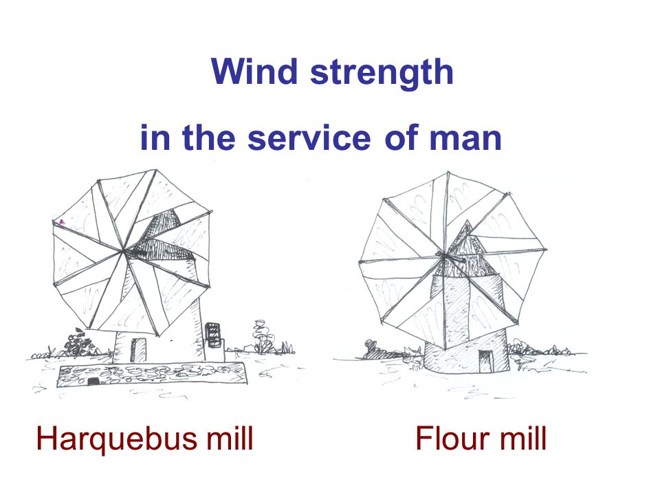 Wind strength in the service of man Harquebus millFlour mill