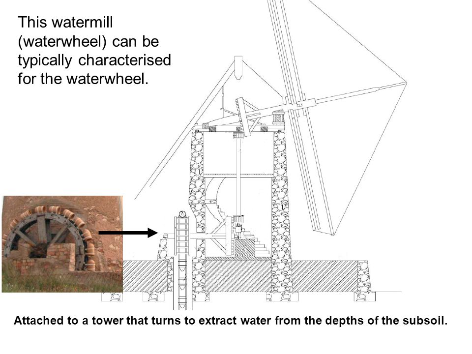 This watermill (waterwheel) can be typically characterised for the waterwheel. Attached to a tower that turns to extract water from the depths of the