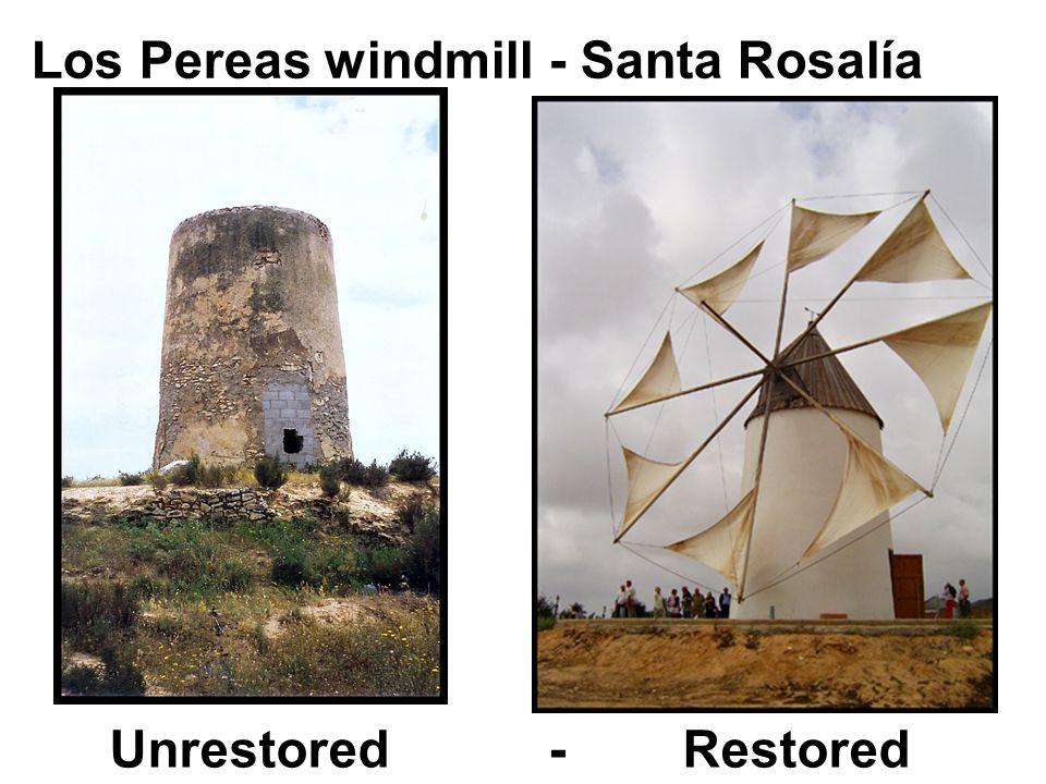 Los Pereas windmill - Santa Rosalía Unrestored - Restored