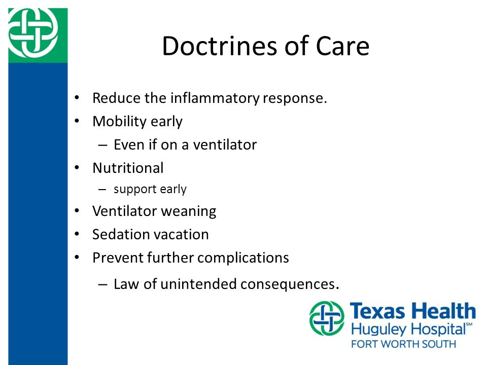 Doctrines of Care Reduce the inflammatory response.