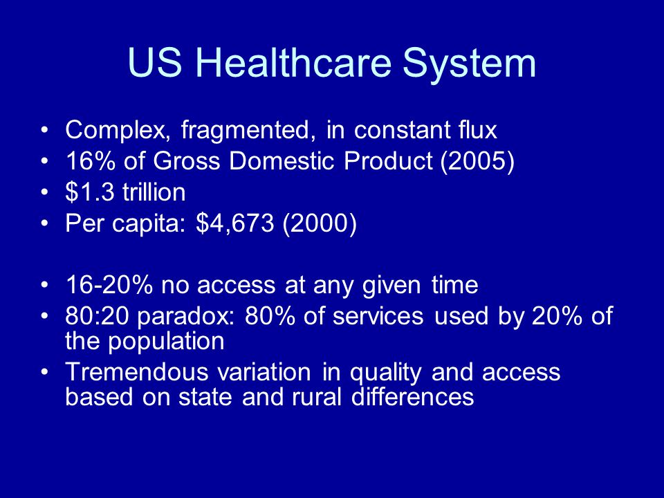 US Healthcare System Complex, fragmented, in constant flux 16% of Gross Domestic Product (2005) $1.3 trillion Per capita: $4,673 (2000) 16-20% no access at any given time 80:20 paradox: 80% of services used by 20% of the population Tremendous variation in quality and access based on state and rural differences