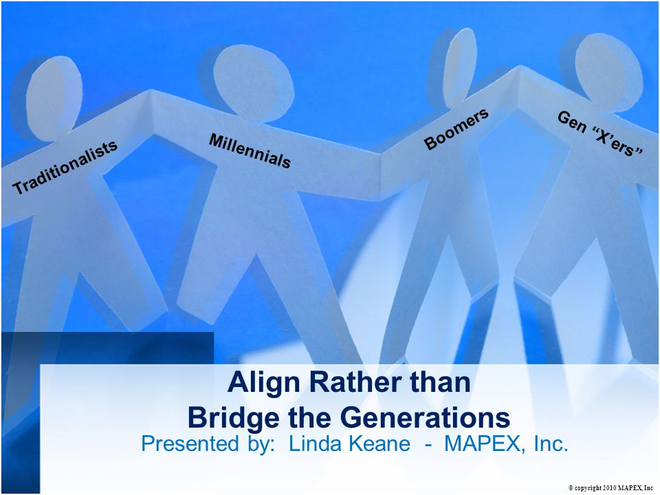 Align Rather than Bridge the Generations Presented by: Linda Keane - MAPEX, Inc.