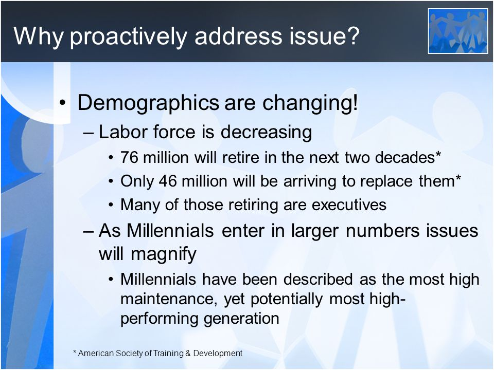 Why proactively address issue. Demographics are changing.