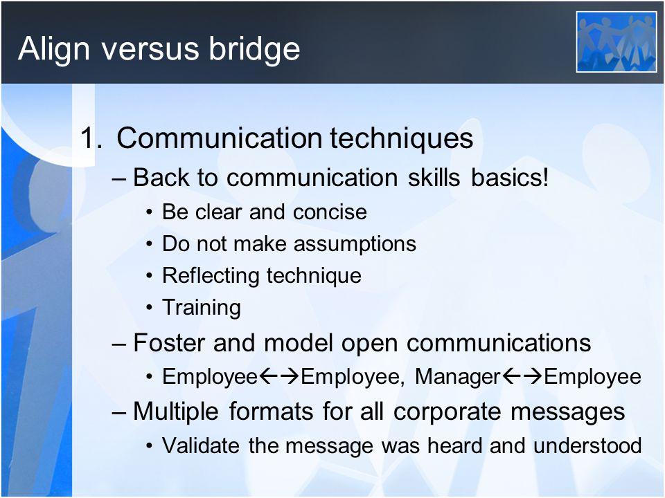 Align versus bridge 1.Communication techniques –Back to communication skills basics.
