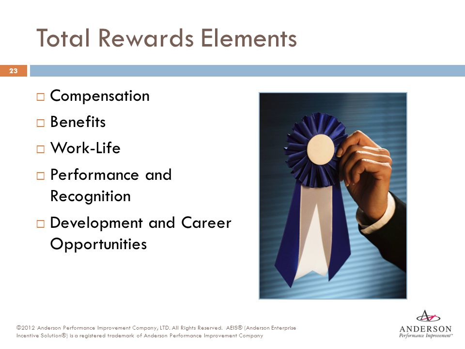 Total Rewards Elements  Compensation  Benefits  Work-Life  Performance and Recognition  Development and Career Opportunities 23 ©2012 Anderson Pe
