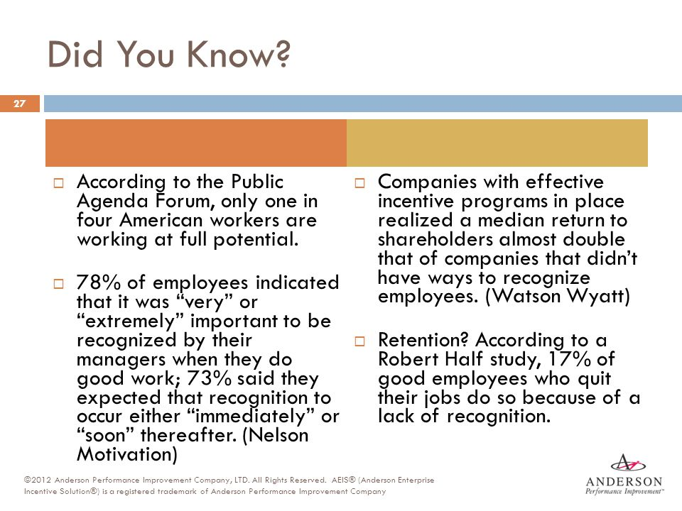 Did You Know?  According to the Public Agenda Forum, only one in four American workers are working at full potential.  78% of employees indicated th