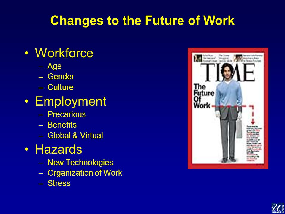Changes to the Future of Work Workforce –Age –Gender –Culture Employment –Precarious –Benefits –Global & Virtual Hazards –New Technologies –Organization of Work –Stress