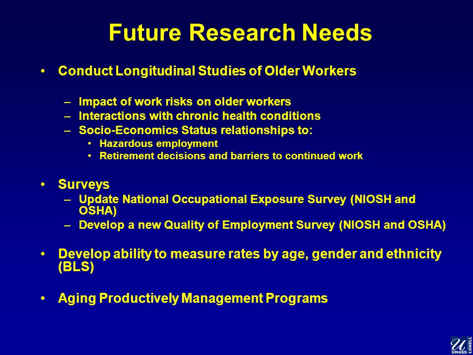 Future Research Needs Conduct Longitudinal Studies of Older Workers –Impact of work risks on older workers –Interactions with chronic health conditions –Socio-Economics Status relationships to: Hazardous employment Retirement decisions and barriers to continued work Surveys –Update National Occupational Exposure Survey (NIOSH and OSHA) –Develop a new Quality of Employment Survey (NIOSH and OSHA) Develop ability to measure rates by age, gender and ethnicity (BLS) Aging Productively Management Programs