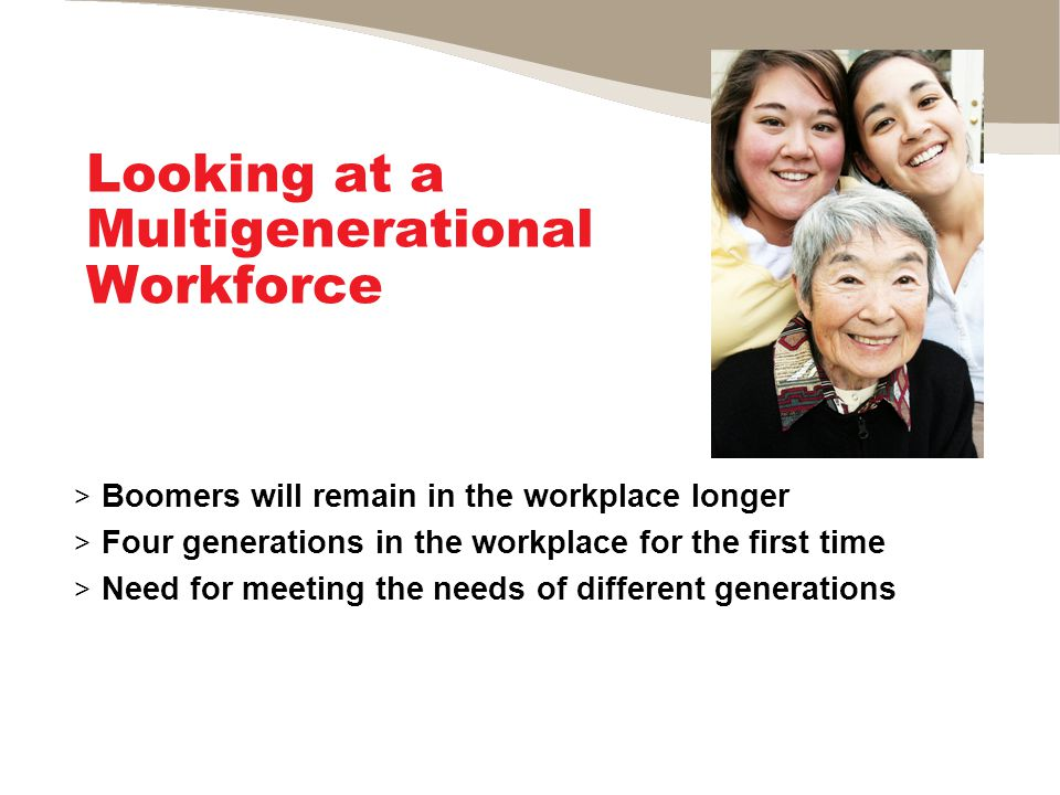 Looking at a Multigenerational Workforce > Boomers will remain in the workplace longer > Four generations in the workplace for the first time > Need for meeting the needs of different generations