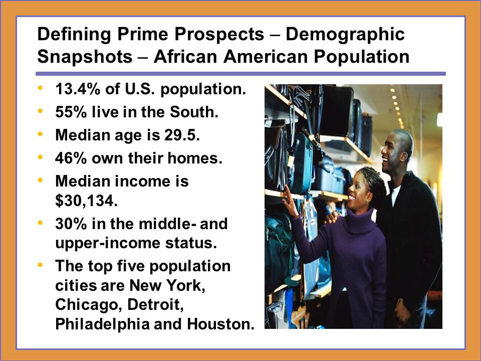 Defining Prime Prospects – Demographic Snapshots – African American Population 13.4% of U.S. population. 55% live in the South. Median age is 29.5. 46