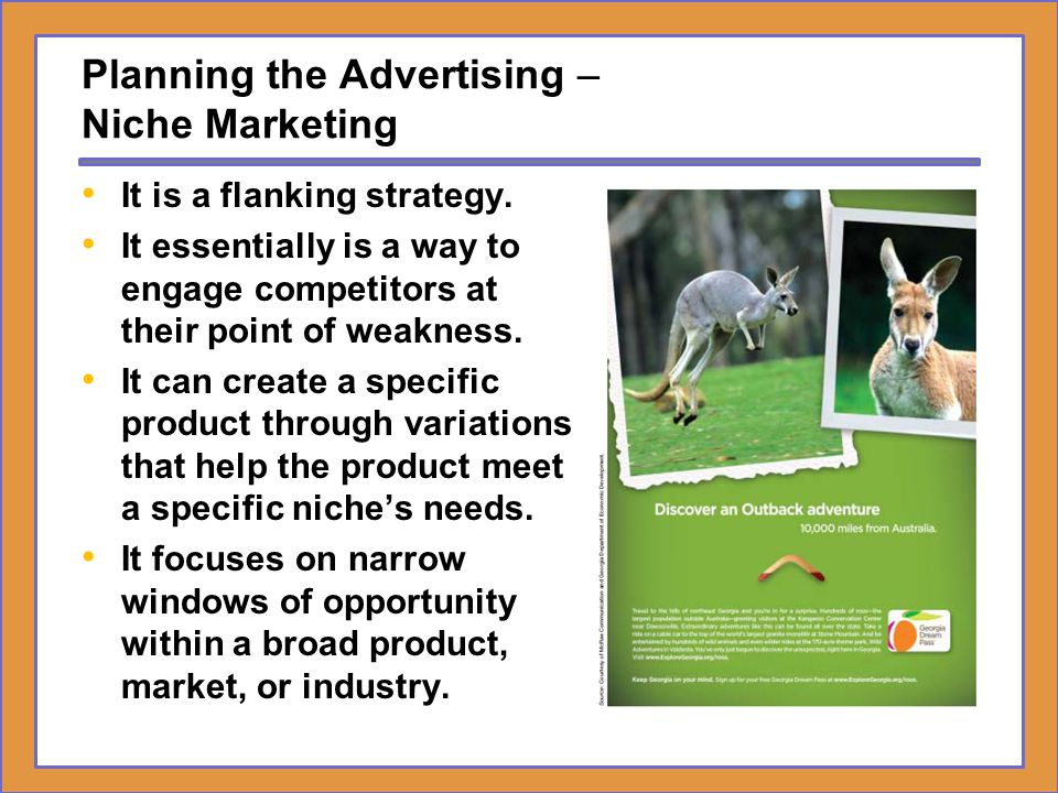 Planning the Advertising – Niche Marketing It is a flanking strategy. It essentially is a way to engage competitors at their point of weakness. It can