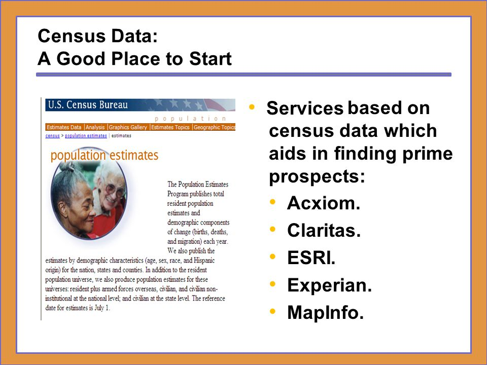 Defining Prime Prospects – Where Do We Start – Census Data One of the most sophisticated geodemographic tools to help marketers pinpoint direct marketing prospects based on U.S.