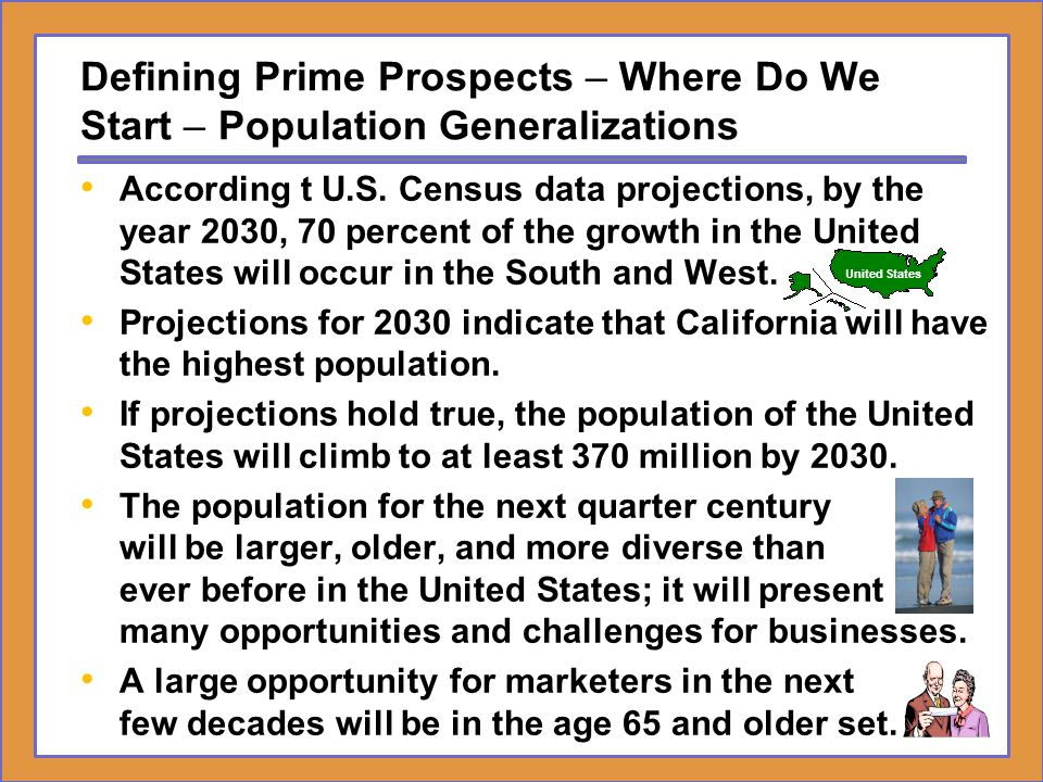 Defining Prime Prospects – Where Do We Start – Population Generalizations According t U.S. Census data projections, by the year 2030, 70 percent of th