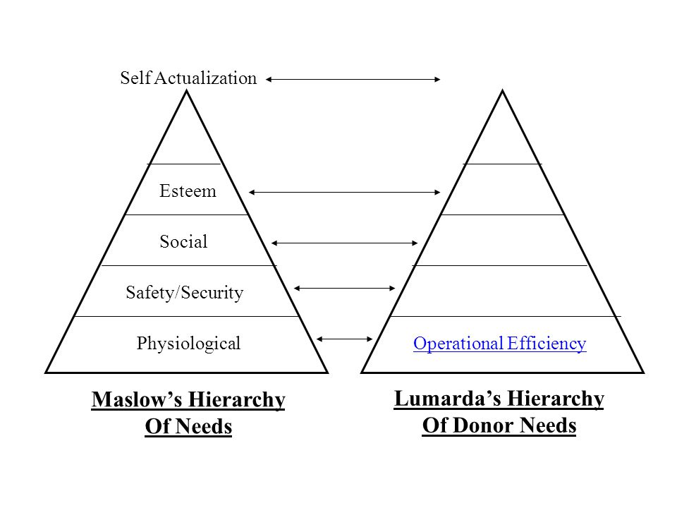 Maslow's Hierarchy Of Needs Lumarda's Hierarchy Of Donor Needs PhysiologicalOperational Efficiency Safety/Security Social Esteem Self Actualization
