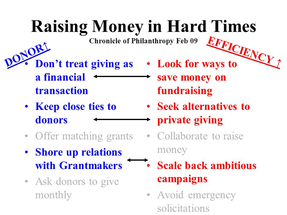 Raising Money in Hard Times Chronicle of Philanthropy Feb 09 Don't treat giving as a financial transaction Keep close ties to donors Offer matching gr