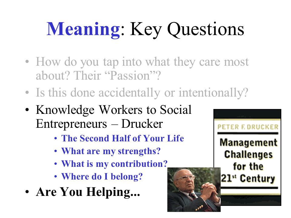 "Meaning: Key Questions How do you tap into what they care most about? Their ""Passion""? Is this done accidentally or intentionally? Knowledge Workers t"