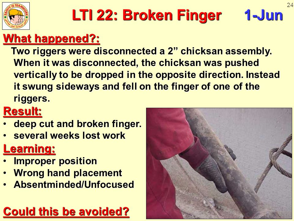 """24 LTI 22: Broken Finger1-Jun What happened?: Two riggers were disconnected a 2"""" chicksan assembly. When it was disconnected, the chicksan was pushed"""