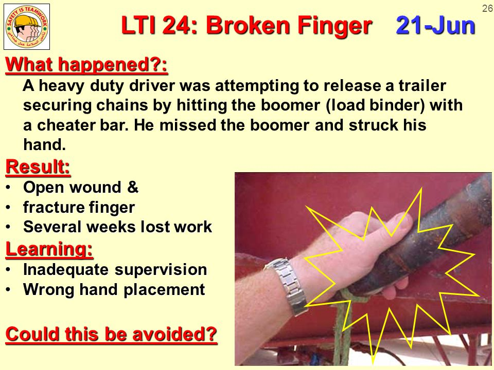 26 LTI 24: Broken Finger 21-Jun What happened : A heavy duty driver was attempting to release a trailer securing chains by hitting the boomer (load binder) with a cheater bar.