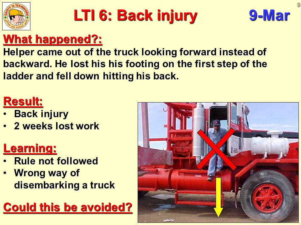9 LTI 6: Back injury9-Mar What happened?: Helper came out of the truck looking forward instead of backward. He lost his his footing on the first step