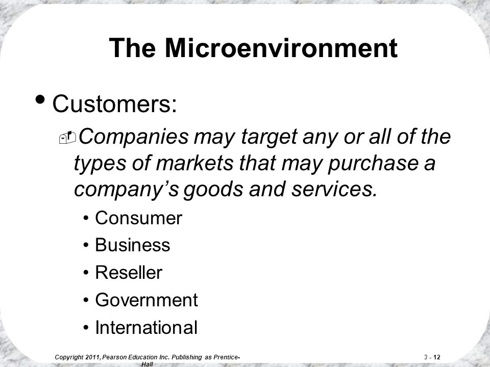 Copyright 2011, Pearson Education Inc. Publishing as Prentice- Hall 3 - 12 Customers:  Companies may target any or all of the types of markets that m