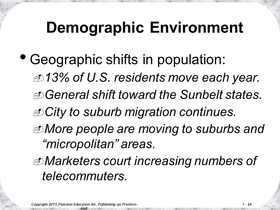 Copyright 2011, Pearson Education Inc. Publishing as Prentice- Hall 3 - 24 Geographic shifts in population:  13% of U.S. residents move each year. 