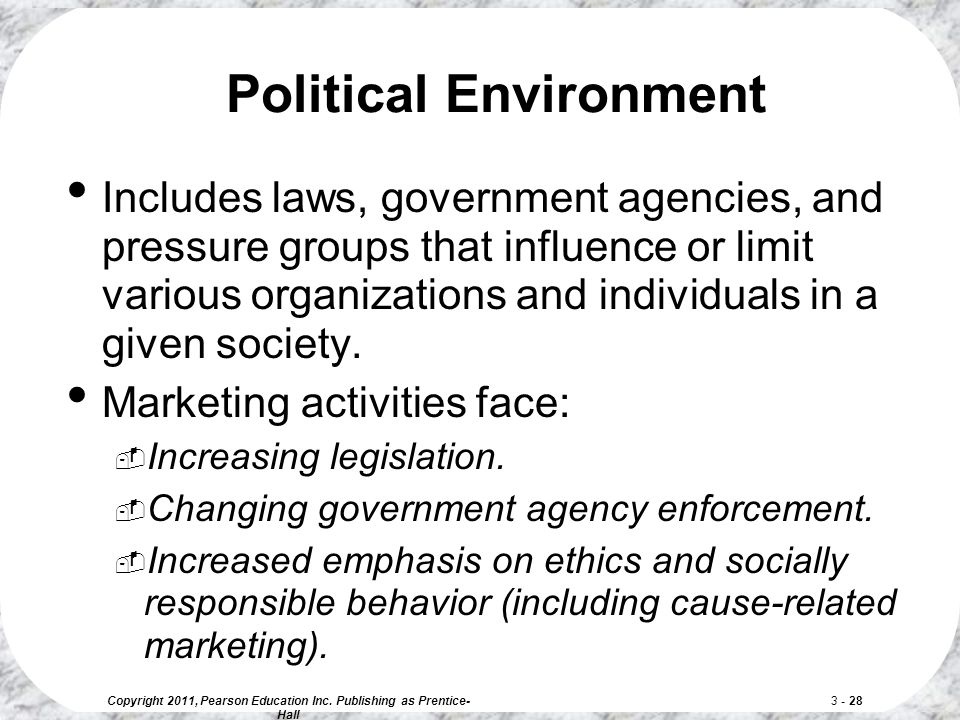 Copyright 2011, Pearson Education Inc. Publishing as Prentice- Hall 3 - 28 Political Environment Includes laws, government agencies, and pressure grou