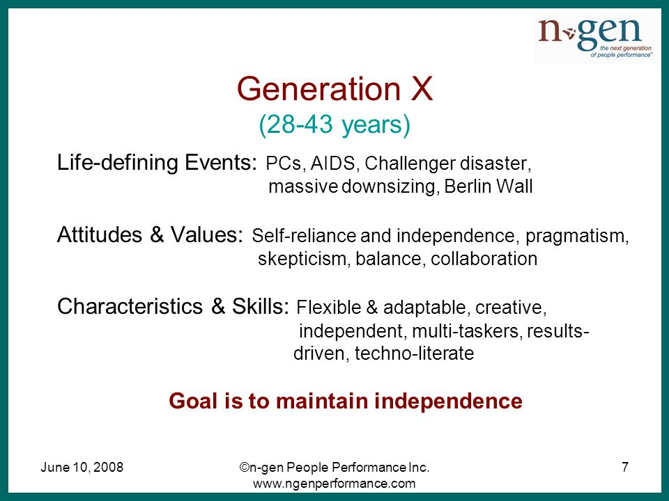 June 10, 2008©n-gen People Performance Inc. www.ngenperformance.com 7 Generation X (28-43 years) Life-defining Events: PCs, AIDS, Challenger disaster,