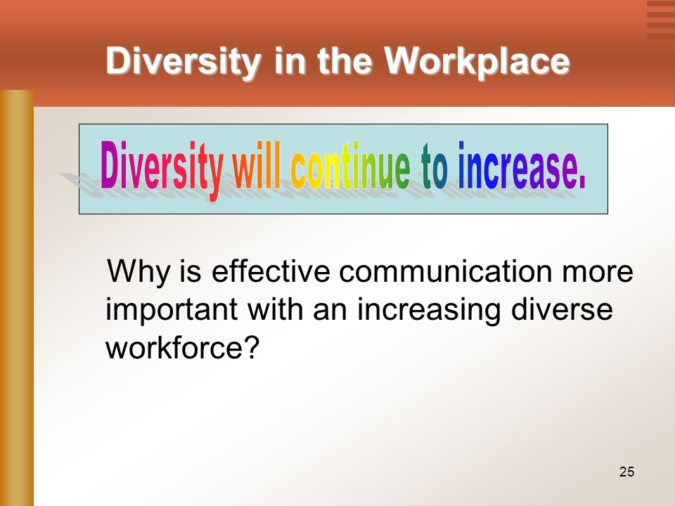 25 Why is effective communication more important with an increasing diverse workforce.