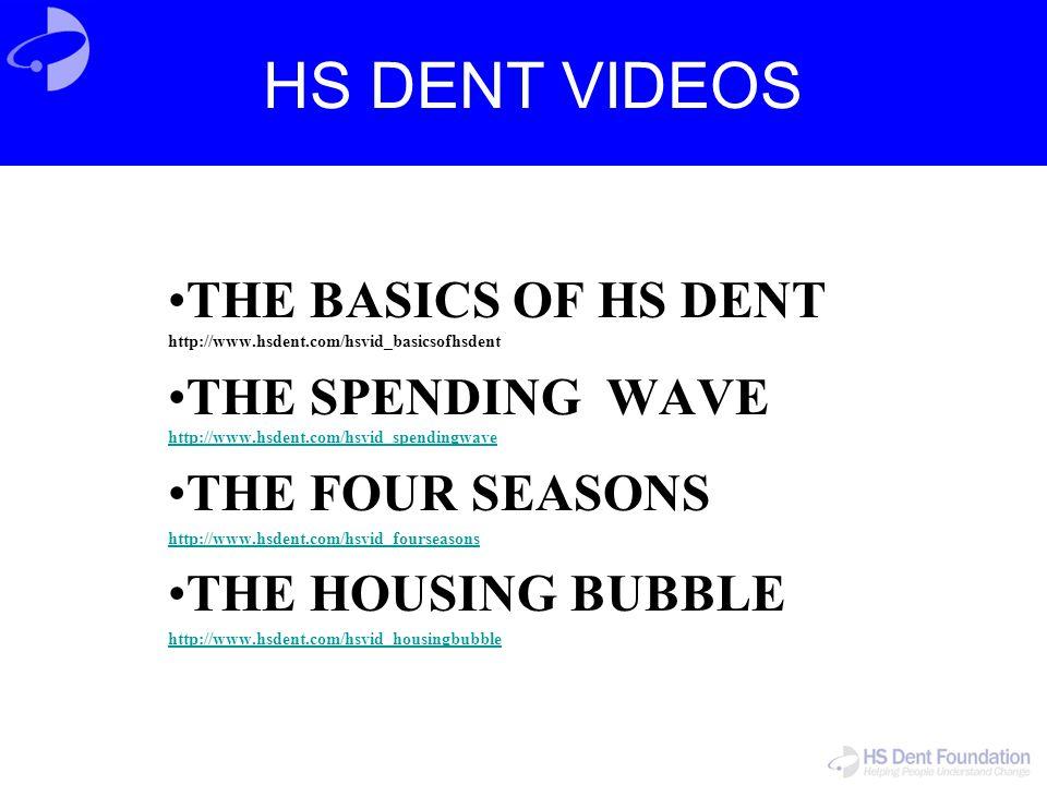 HS DENT VIDEOS THE BASICS OF HS DENT http://www.hsdent.com/hsvid_basicsofhsdent THE SPENDING WAVE http://www.hsdent.com/hsvid_spendingwave http://www.