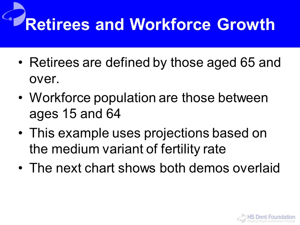 Retirees and Workforce Growth Retirees are defined by those aged 65 and over. Workforce population are those between ages 15 and 64 This example uses