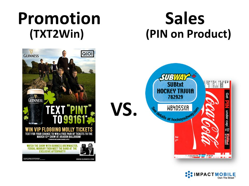 VS. PromotionSales (PIN on Product)(TXT2Win)