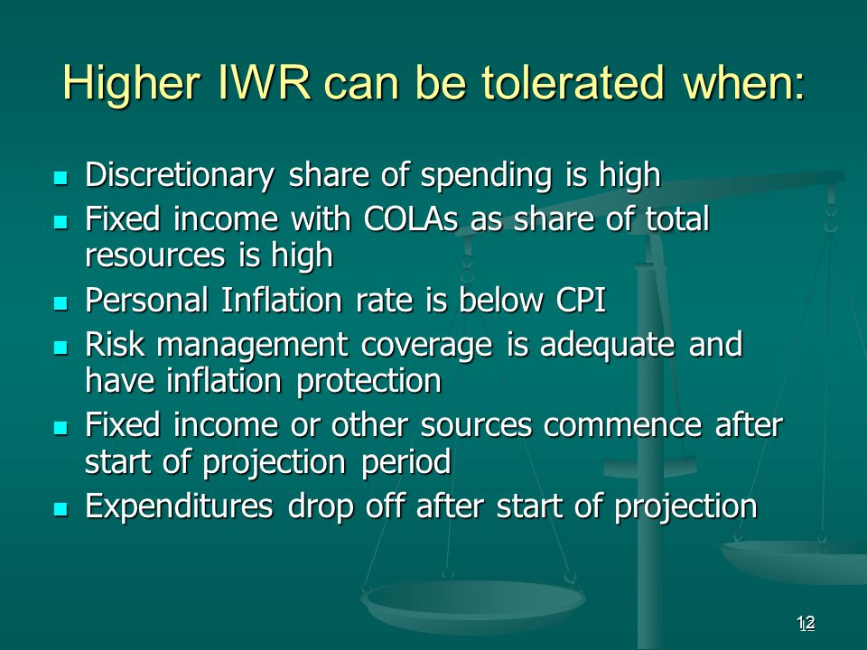 12 Higher IWR can be tolerated when: Discretionary share of spending is high Discretionary share of spending is high Fixed income with COLAs as share of total resources is high Fixed income with COLAs as share of total resources is high Personal Inflation rate is below CPI Personal Inflation rate is below CPI Risk management coverage is adequate and have inflation protection Risk management coverage is adequate and have inflation protection Fixed income or other sources commence after start of projection period Fixed income or other sources commence after start of projection period Expenditures drop off after start of projection Expenditures drop off after start of projection 12