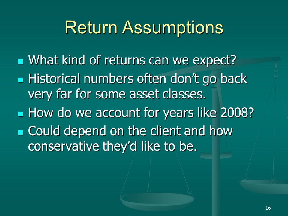 16 Return Assumptions What kind of returns can we expect.