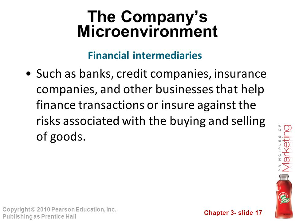 Chapter 3- slide 17 Copyright © 2010 Pearson Education, Inc. Publishing as Prentice Hall The Company's Microenvironment Such as banks, credit companie