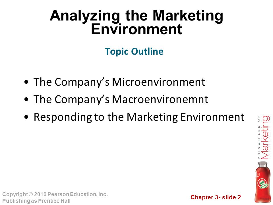 Chapter 3- slide 2 Copyright © 2010 Pearson Education, Inc. Publishing as Prentice Hall Analyzing the Marketing Environment The Company's Microenviron